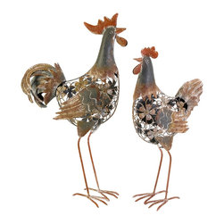 Hinslow Metal Hen and Rooster - Set of 2 - *This hen and rooster set is a must have for any kitchen or dining area! With an open body design feature floral accents, the Hinslow set of statuary features a neutral finish with subtle red details.