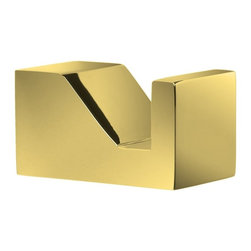 Windisch - Gold Brass Bathroom Hook - Simple and sleek contemporary style bathroom hook for robes, clothes, or towels.