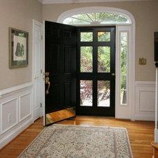 Front door. Storm door. Wainscoting