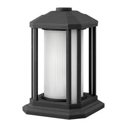 Hinkley Lighting - Hinkley Lighting 1397BK-GU24 Castelle 1 Light Post Lights & Accessories in Black - Castelle's transitional style features clean lines and a ribbed etched glass cylinder accented by etched amber corner panels, adding to its sophisticated look.
