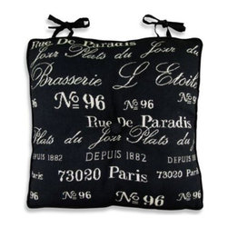 """Park B. Smith - Park B. Smith Brasserie Tapestry Chair Pad in Black/Natural - Take a trip to Paris and old Europe with this beautiful, French-inspired chair pad. Measures 16"""" x 16"""". 50% cotton/50% polyester cover."""