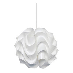 Le Klint - Le Klint 172 Pendant - Le Klint hand folded sculptural shades were designed by architect Poul Christiansen between 1969 and 1978. Shades are made of color stabilized white pvc which is completely washable and anti static. Pendant available in a variaty of shapes and sizes as well as a floor and table lamp version. Includes 60 inches of white cord. Fixture available with incandescent or fluorescent lamping option. One 75 or 100 watt, 120 volt, A19 medium base incandescent lamp not included. General light distribution. UL listed for dry and damp location. Made in Denmark. Fixture avaialble in a small and large size. Small: 13 inch diameter x 12.25 inch height. Large: 17.5 inch diameter x 15.75 inch height.