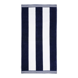 Superior - Superior Collection Luxurious Jacquard Cotton Beach Towel - Cabana Stripes - Relax and dry off in style with these velour terry cloth beach towels from Superior. This fun design features white and blue cabana stripes. Dimensions: 34x64.