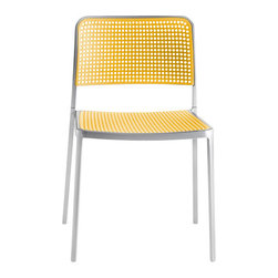 Kartell - Audrey Chair, Set of 2, Aluminum/Yellow - Audrey, the eclectic seat combining aluminum and plastic and designed by Piero Lissoni is a versatile and contemporary chair which because of its simple, clean lines due to a special die-casting process is composed of only two parts and made without welding. It is multifunctional and adaptable to all uses, indoor, outdoor, the home, office and contract, with its wonderfully rich range of combinations (about 50 in all). Audrey comes in either the chair or the armchair (with arms) version with seat and back in various colors of plastic and the aluminum frame has three versions: painted aluminum, painted white or painted black. This seat can also be used outdoors.