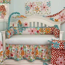 Cotton Tale Designs - Lizzie Bumper - A quality baby bedding set is essential in making your nursery warm and inviting. Cotton Tale uses quality materials and unique designs to create your perfect nursery. The Lizzie bumper has lots of color in a bright cotton motif. Large appliqued daisies on a patchwork of big dot red, small red dot and a fancy contemporary floral. Accents in bright turquoise four sectioned bumper, patch worked front and back with large floral applique. Long sides of bumpers are 52x11 and short sides are 26x11. Wash gentle cycle, separate, cold water. Tumble dry low or hang dry. This collection is perfect for your little girl.