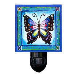Butterfly Night Light - Our beautiful Butterfly Night Light will brighten any room with a warm glow. It's made of a print of original painting, which is sandwiched in between two layers of durable acrylic. The light is UL approved and comes with a standard four watt night light bulb. Gift box included. Made in the USA. (Be sure to look for our butterfly wall clock, alarm clock and magnets, too!)