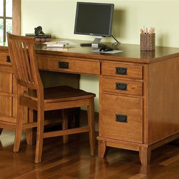 HomeStyles - Arts and Crafts 3-Pc Side Chair and Desk (Ebo - Color: EbonySet of one table and two chairs. This pedestal desk and side chair are practical blend of artistry and utility. Eco-friendly and sustainable. Top coat will help to protect against wear and tear from normal use. Features a center, drop-front keyboard tray. Designed for home office use with a left pedestal having a CPU storage cabinet and a box drawer and the right pedestal having two box drawers plus a file drawer. The chair is designed with curved backs and contoured seats for comfort. Made from hardwood and veneer. Cottage oak finish. Minimal assembly required. Table: 58 in. W x 20 in. D x 30 in. H. Chair: 17.75 in. W x 22.25 in. D x 35.75 in. H