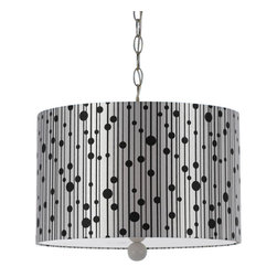 Candice Olson - Candice Olson Drizzle Transitional Pendant Light X-H3-3448 - Drizzle is influenced by but not obsessed with nature. The key design element is a stylized interpretation of raindrops, executed with a playful, light and modern attitude. Our pendants are hand printed on a poly cotton sateen fabric and include a full swag kit with an on off switch. 15 feet of chain included.
