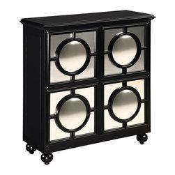 Sterling Industries - Sterling Industries 6042880 Mirage Cabinet Black - Impressive Sideboard With Plenty Of Storage And Shelving. The Round Convex Mirrors On Each Of Three Doors Reflect The Entire Room And Make Every Space Sparkle Adding Real Drama To This Remarkable Piece.  Cabinet (1)