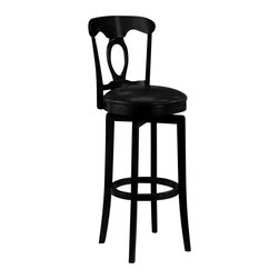 Hillsdale Furniture - Hillsdale Corsica Swivel 30 Inch Barstool in Black - The Corsica swivel barstool is a euro classic built for comfort while saving space. A rich black finish accentuates the rustic appeal of French country design components that include a shapely yoke crest and a vase-shaped keyhole splat. Wood post legs with a saber taper at the feet and circular foot rail add refined support. The round seat with dense foam cushioning features black leather-like vinyl upholstery that is both durable and easy to clean. This timeless seating choice brings transitional flair to family rooms, kitchen counters and bar areas.