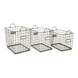 "IMAX CORPORATION - Newbridge Wire Storage Baskets - Set of 3 - Great for linens, magazines and many other items, this collection of Newbridge wire baskets is perfect for a variety of storage uses. Set of 3 in various sizes measuring around 23""L x 16""W x 12""H each. Shop home furnishings, decor, and accessories from Posh Urban Furnishings. Beautiful, stylish furniture and decor that will brighten your home instantly. Shop modern, traditional, vintage, and world designs."