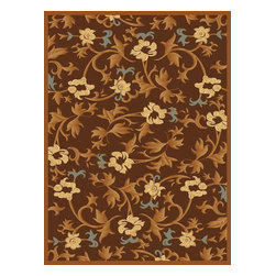 """Rugs America - Contemporary Torino 2'x2'11"""" Rectangle Bouquet Brown Area Rug - The Torino area rug Collection offers an affordable assortment of Contemporary stylings. Torino features a blend of natural Bouquet Cream color. Machine Made of Power Loomed 500 000 points  Heat-Set Poly the Torino Collection is an intriguing compliment to any decor."""