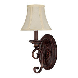 Capital Lighting - Capital Lighting 1842-434 Hammond 1 Light Wall Sconce with Fabric Shade - Capital Lighting 1842MBZ-434 Hammond 1 Light SconceFeatures: