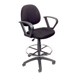 """Boss Chairs - Boss Chairs Boss Drafting Stool w/ Footring & Loop Arms - Contoured back and seat help to relieve back-strain. Pneumatic gas lift seat height adjustment. Large 27"""" nylon base for greater stability. Hooded double wheel casters. Strong 20"""" diameter chrome foot ring. With loop arms. Optional glides can be used in place of casters (TU021)."""