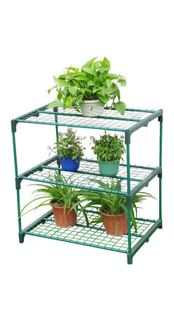 Zenport - Three Tier Greenhouse Shelving Station 69x49x75cm - Zenport SH3222A Three Tier Greenhouse Plant Growing Shelving Station Size: 27-Inches (69CM) X 19-Inches (49CM) X 30-Inches (75CM) Maximize the growing space in your greenhouse. 3 shelves for pots and seed trays included. Durable shelving perfect for growing plants in greenhouse or sun porch. Made from tubular steel and poly resin, shelves are removable for taller plants. Easy to assemble or take down within minutes.