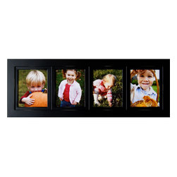 "MyBarnwoodFrames - Collage Picture Frames 8x10 Wood Frame with 4 Openings - 8x10 collage frame, black wood, with 4 individual openings. Each of our collage frames is built to last a lifetime. A 4-opening multi picture frame made of solid hardwood, painted black with distressed edges. Your collage frame will provide the perfect setting for favorite pictures of friends, family and events. Measuring 15""H x 42""W x .75""D overall with a frame width of 2.75 inches, these frames are a beautiful addition to any decor. Made in the USA, your purchase includes glass, cardboard backing and hanging hardware. Can be hung horizontally or vertically."