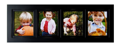 """MyBarnwoodFrames - Collage Picture Frames 8x10 Wood Frame with 4 Openings - 8x10 collage frame, black wood, with 4 individual openings. Each of our collage frames is built to last a lifetime. A 4-opening multi picture frame made of solid hardwood, painted black with distressed edges. Your collage frame will provide the perfect setting for favorite pictures of friends, family and events. Measuring 15""""H x 42""""W x .75""""D overall with a frame width of 2.75 inches, these frames are a beautiful addition to any decor. Made in the USA, your purchase includes glass, cardboard backing and hanging hardware. Can be hung horizontally or vertically."""