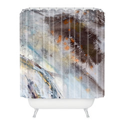 DENY Designs - Ginette Fine Art Rust Shower Curtain - Who says bathrooms can't be fun? To get the most bang for your buck, start with an artistic, inventive shower curtain. We've got endless options that will really make your bathroom pop. Heck, your guests may start spending a little extra time in there because of it!