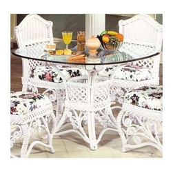 Spice Island Wicker - Wicker Base Dinner Table with Glass Top - Choose Glass Top: 42 in.Choose the exact glass size you need ��� 42 inches or 48 inches - to fit this beautifully styled wicker dinner table base.  It�۪s supported by four double-wrapped legs and detailed with ornamental rattan curls for a lighthearted approach to fine entertaining.  Eat in comfort and exquisite style with this eloquently beautiful wicker frame dining table, complete with tastefully artful wicker designs and a ruggedly durable yet gleaming and beautiful glass top to protect that exquisite white, white wash, or brown finish on your fine new dining table. * Solid Wicker Construction. White Finish. Includes Glass Top. For indoor, or covered patio use only. Frame: 28 in. x 28 in. x 29.5 in. H