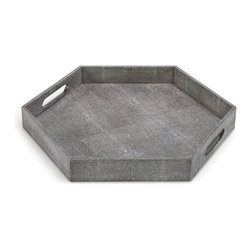Kathy Kuo Home - Morro Coastal Beach Charcoal Shagreen Hexagon Tray - Covered in a gorgeous, charcoal shaded, cruelty-free faux stingray shagreen, this hexagonal tray is so attractive, so perfect, you'll want to display your finest perfumes, decanters, or aperitifs on it.  Or, if everyday luxury is your style, serve a special someone breakfast in bed!