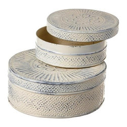 """MIDWEST CBK - Antique Ivory Nested Round Box Set of 2. - Antique Ivory Nested Round Box. Set of 2 measuring approximately 13"""" x 13"""" x 24"""" each. Shop home furnishings, decor, and accessories from Posh Urban Furnishings. Beautiful, stylish furniture and decor that will brighten your home instantly. Shop modern, traditional, vintage, and world designs."""