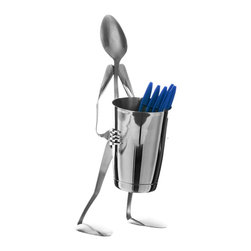 Forked Up Art - Pencil Shaker Stand - Spoon - Great on the desktop, or in the kitchen by the phone. Also great to hold coffee stirrers. Includes one(1) 16 oz. bar shaker.