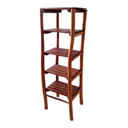 "Master Garden Products - Teak Log Wood Shelves, 5 Tiers, 18""W x 18""D x 60""H - We have a full line of  teak shelving with different designs and sizes. Teak wood is famous for its durability, resistance to rotting and age to a beautiful shiny grey color tone.  Teak wood grain is uniquely smooth and dense, great for bathrooms. Can be used indoors and outdoors."