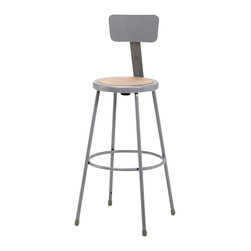 National Public Seating - National Public Seating 30 Inch Gray Frame Stool Hardboard Seat w/ ADJ Backrest - 6200 Series heavy duty lab stools by National Public Seating are perfect for classroom and studio use. They feature a steel tubing frame, footring welded with 4 contact points on each leg and optional adjustable backrest. The Masonite board is recessed into the seat pan to protect the seat from cracks and chips. The adjustable backrest can be raised up or down or moved front and back. The adjustable height models have chrome plated inserts and tilt swivel glides on legs. These heavy-duty steel stools epitomize ergonomic design and elegant style. They are available in metallic gray color.