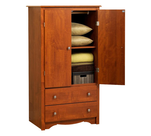Prepac - 58.75 in. Armoire with 2 Doors - Includes a tipping restraint. Two full size drawers. Adjustable shelf inside the cabinet. Curved top edges and side moldings. A scalloped base panel and solid dark pewter knobs. Metal glides with built-in safety stops. Clear lacquered real wood drawer sides. Sturdy MDF backer. Warranty: Five years. Made from CARB-compliant, laminated composite woods. Cherry finish. Made in North America. Opening: 28 in. W x 20.75 in. D x 38 in. H. Drawer: 24.75 in. W x 12.5 in. D x 5 in. H. Overall: 31.5 in. W x 22 in. D x 58.75 in. HElegant and multifunctional, the Monterey two door Armoire is a must for any space-conscious bedroom. The cabinet behind the double doors can serve as an entertainment center for a small TV or you can use the included hanging rod to keep your clothes organized. For yet another option, take advantage of the cabinets adjustable shelf and store shoes, accessories, linens and more.