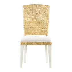 Stanley Furniture - Coastal Living Resort Water s Edge Woven Side Chair - Enjoy the Water s Edge no matter where you live. This Dining Side Chair from Coastal Living Resort has a tall back covered in woven water hyacinth to create a textural pattern that reminds you of sea grass blowing in the breeze. The Super Comfort Seat is upholstered in fabric and has a woven water hyacinth border. Tapered legs can be finished in your choice of Sail or Sea Oat colors. Both finishes allow the beauty of the wood grain to shine through. Reveling in the Water s Edge collection you can easily imagine yourself dining with friends on the roof of a Greek villa overlooking stark white buildings and the sapphire blue of the Aegean Sea. In the background sun-drenched mountaintops line the horizon making this a picture perfect moment - if only in your imagination.
