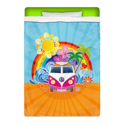 "Eco Friendly ""Peace Bus"" Twin Size Surfer Sheet Set - Our ""Peace Bus"" Twin Size Surfer Sheet Set is made of a lightweight microfiber for the ultimate experience in softness~ extremely breathable!"
