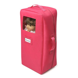 Badger Basket - Double Doll Travel Case with Bunk Bed and Bedding - Dark Pink - Pack your favorite doll (or two!) and doll accessories, zip, and go! Soft case includes a travel bed, pillow, and blanket so weary travelers may slumber comfortably anywhere. Convenient tote handles, and a card holder on the front for adding a name tag. Doll buckles in securely. Travel bed folds flat and store insides. Ample room for additional clothing and accessories. Mesh pockets hold small items. Heavy duty zipper with dual pulls. Doll not included