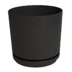 Bloem - Bloem 10in Cetara Planter Black CP1000, 6 pack - For use indoors or outdoors