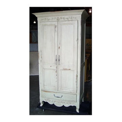 British Traditions - French Carved Armoire w Large Cabinet & Clothes Rod (Antique White) - Finish: Antique White. Each finish is hand painted and actual finish color may differ from those show for this product. French carved armoire. Large cabinet. Clothes rod. 1 Drawer. Minimal assembly required. Cabinet size: 35 in. W x 22 in. D x 61 in. H. Drawer size: 34 in. W x 20 in. D x 8 in. H. Bottom of drawer: 9.88 in. up off ground. 43 in. W x 26.5 in. D x 81.5 in. H (208 lbs.)The slender Honfleur Carved armoire works well in any small space.