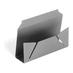 PRAXIS - Envelope Stand - Silver - A series of elegant desktop accessories inspired by folded paper and made of anodized aluminum. The range includes a pen holder, tray and ruler (inches & centimeters). Each sold separately and packaged in black gift box.