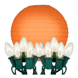 """LumaBase Luminarias - Electric String Lights with Round Paper Lanterns (10"""") 10 Count Orange - Electric round paper lanterns are an economical way to add color and dimension to your event. They will create a beautiful ambiance day or night. Use them on tree branches, under a party tent, above a dinner table or under a patio umbrella. They'll add a touch of flair and a festive feel any way you use them. The lanterns come on a 30' UL listed electric cord with end to end connectors."""