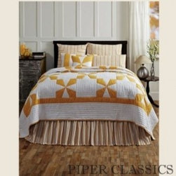 Country Bedding - Catalina Quilted Bedding features a simple Maltese Cross pattern in golden yellow on soft white, 100% cotton shell and fill.