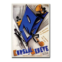 Trademark Art - Kursal de Geneve Musical Revue Poster Wall Ar - Gallery wrapped Giclee on canvas. Ready to hang. Traditional style. Subject: Vintage. Format: Vertical. Size: Medium. Canvas material. 16 in. W x 24 in. H (4 lbs.)Giclee is an advanced printmaking process for creating high quality fine art reproductions. The attainable excellence that Giclee printmaking affords makes the reproduction virtually indistinguishable from the original artwork. The result is wide acceptance of Giclees by galleries, museums and private collectors.