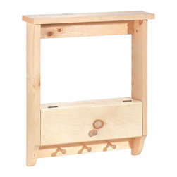 "Renovators Supply - Shelves UnFinished Pine Shelf W/ Peg rack 19"" W x 5 3/4"" Deep - This shelf is crafted of solid pine and measures 24"" high, 19"" wide and 5 3/4"" deep.  Comes unfinished and ready to stain. The top piece is 21"" wide."