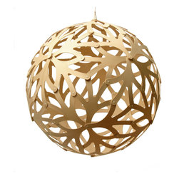 David Trubridge - David Trubridge Floral 600 Pendant Lamp- Natural - This elegant orb features flower shapes with sprouting stems and petals, creating an organic pattern. The peek-a-boo design allows you to enjoy the silhouette on the inside and out.