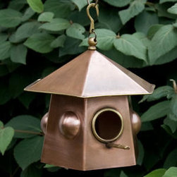 Shibori Hanging Copper Bird House - Antique Copper - This petite Shibori Hanging Copper Bird House is the perfect size for hanging in a small tree in your front yard. Features a dainty bubble-like design, with a beautiful Antique Copper finish.