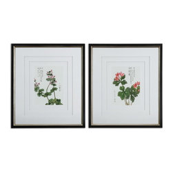 """Uttermost - Uttermost 41513  Asian Flowers Framed Art Set/2 - Three, very light gray, v-grooved mats accent this set of prints. each mat floats 1/4"""" above the other giving added depth and dimension. frames are black satin with champagne silver leaf inner edges. prints are under glass."""