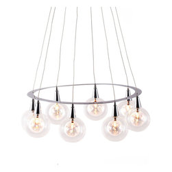 Zuo Modern - Zuo Modern Radial Ceiling Lamp in Chrome - Ceiling Lamp in Chrome belongs to Radial Collection by Zuo Modern Mysterious as it is beautiful, the Radial ceiling lamp has eight 20W glowing orbs attached to a chrome ring. The lamp is UL approved. Lamp (1)