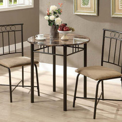 Monarch - Cappuccino Marble / Bronze Metal 3Pcs Bistro Set - This three piece bistro set offers a classic look that will blend in with any decor. This round table features a solid cappuccino marble top, and sturdy bronze metal legs. The armless side chairs feature a circular design and a vertical slat back with cushioned upholstered seating for your comfort. The clean lines of this set will help create a rich ambiance that you and your family will love.