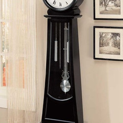 Coaster - Black Contemporary Clock - A great addition to your home, our selection of Grandfather clocks come in a variety of styles and finishes, made with Asian hardwood and veneers. Clock chimes and has battery powered movement (Battery is not included)