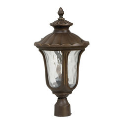 Exteriors - Exteriors Sheffield Traditional Outdoor Post Lantern Light X-89-5253Z - A scalloped roof and coordinating scalloped cupola add a unique flair to this fluid acorn-shaped Craftmade outdoor post lantern light. From the Sheffield Collection, the finer details of the frame are complimented by an earthy Aged Bronze finish. This post light also features a hammered clear glass shade that gives a soft but unique fluidity to the design.