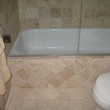 Traditional Powder Room small bathroom redo leaving existing tub