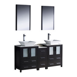"Fresca - Torino 60"" Espresso Double Sink Vanity w/ Side Cabinet & Tolerus Chrome Faucet - Fresca is pleased to usher in a new age of customization with the introduction of its Torino line.  The frosted glass panels of the doors balance out the sleek and modern lines of Torino, making it fit perfectly in eithertown or country decor."