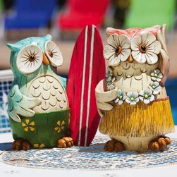 Birds of a Feather Outdoor Fun Hula Hula Time Coast Owl Garden Statue - Set of 2 - Aloha! The Birds of a Feather Outdoor Fun Hula Hula Time Coast Owl Garden Statue - Set of 2 are ready to hang loose with you in your back yard. These fun and quirky owls have a vibrant paint job that catches the eye. They are game to keep the luau swinging even in bad weather being made from durable polystone.