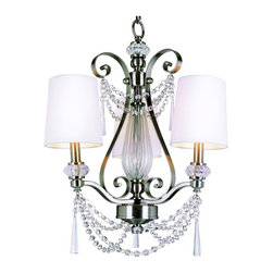Trans Globe Lighting - Trans Globe 7873 BN Chandelier - Brushed Nickel - 22.75W in. - 7873 BN - Shop for Chandeliers from Hayneedle.com! Whether it's your foyer living space or dining area the Transglobe 7873 BN Chandelier - Brushed Nickel - 22.75W in. will add oodles of style without compromising on function. A charming blend of elegance and upscale appeal this mini chandelier's transitional design ensures it blends well with both traditional and contemporary settings. Brushed nickel finish highlights the white shades while crystal accents jazz up the look to create a piece that will be a part of your home for years to come. This 22.75-inch fixture uses three 60-watt candelabra bulbs (not included).
